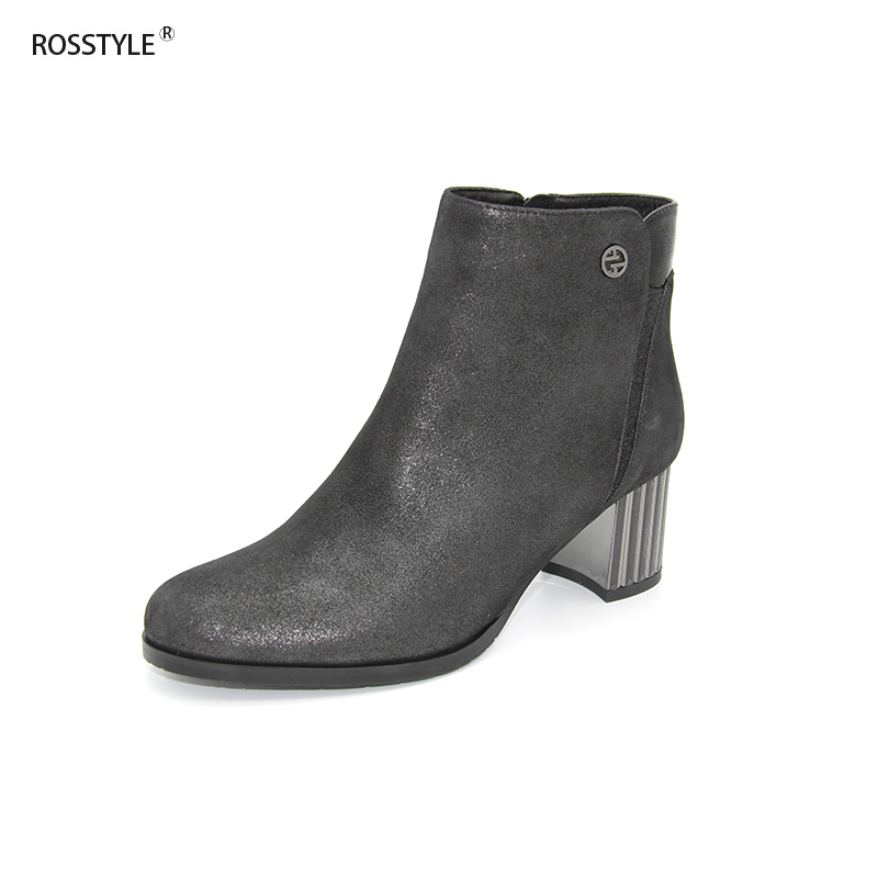 Rosstyle Women Ankle Boots Shiny Metallic Full Genuine Leather Fleeced Shoes High Heels Fretwork Type with Zipper Metal Decor B1Rosstyle Women Ankle Boots Shiny Metallic Full Genuine Leather Fleeced Shoes High Heels Fretwork Type with Zipper Metal Decor B1