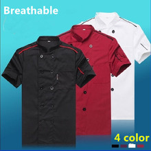 2018 Summer men Short-sleeved Chef service Hotel working wear Restaurant work clothes Tooling uniform women Chef Jackets 4 color