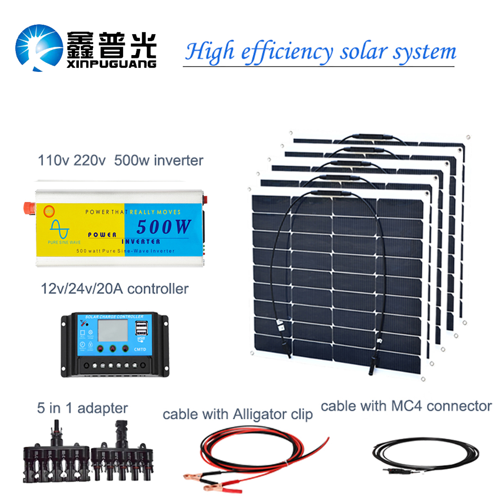 500 Watt Inverter Circuit Diagram 18 V 50 Flexible Solar Panel 250 Solarmodul System Zelle 20a Controller Adapter Kabel 12 Batterie Ladung In