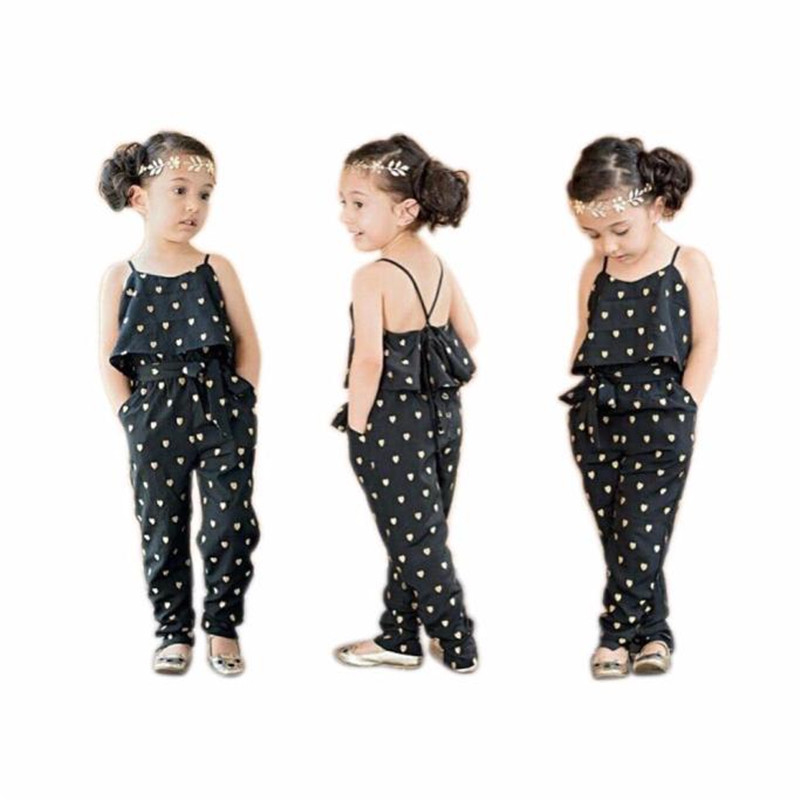 355ff57115 buy Fashion Kids Overalls Hot Love Heart Straps Rompers Jumpsuits One Piece  Pants Children Clothing Girls Clothes