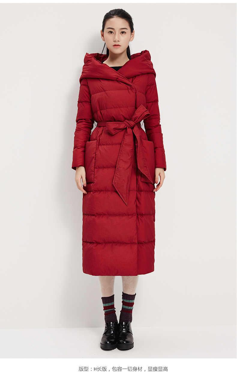 Große Kapuze Unten Jacke Mantel Lange Frau Unten Mantel Warme Winter Ente Unten Jacke Mit Taille Gürtel