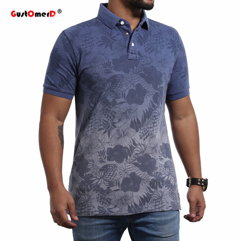 GustOmerD 2018 new Summer Cotton   Polo   Shirt Men Short Sleeve Floral Gradient Casual Mens Shirts Camisa   Polo   Mens   Polos