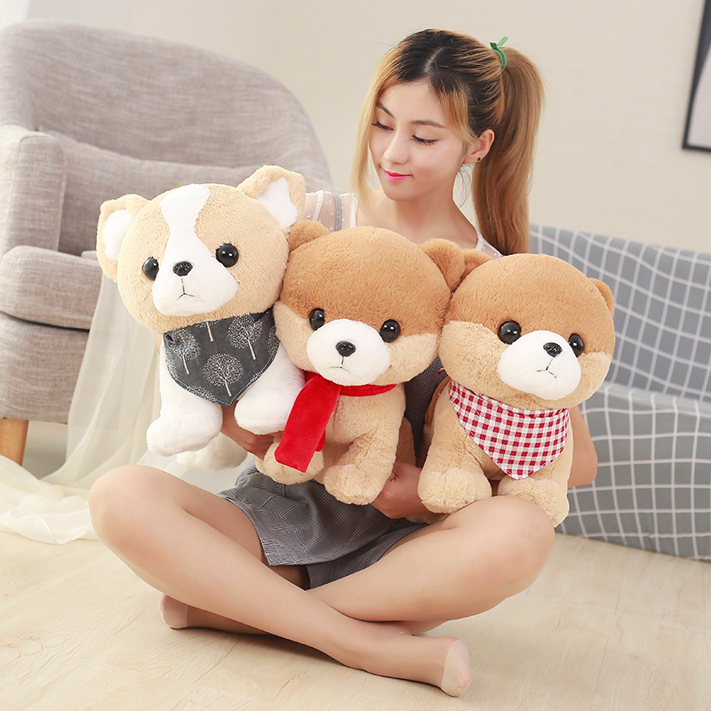 1pc 30cm Lovely Stuffed Dog with Scarf Soft Cute Animal Cartoon Teddy Dog Plush Toys Doll for Kids Baby Children Gift Brinquedo 1pc 55cm cute fat shiba inu dog plush pillow stuffed soft cartoon animal toys lovely kids baby children christmas gift dolls