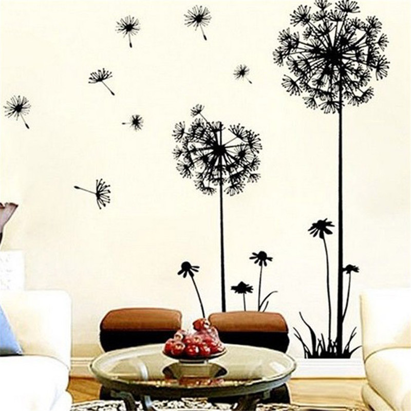 2016 Dandelion Flower Tree Wall Art Decal Sticker Removable PVC wall Stickers Home Decor For Bedroom Living Room Decorative