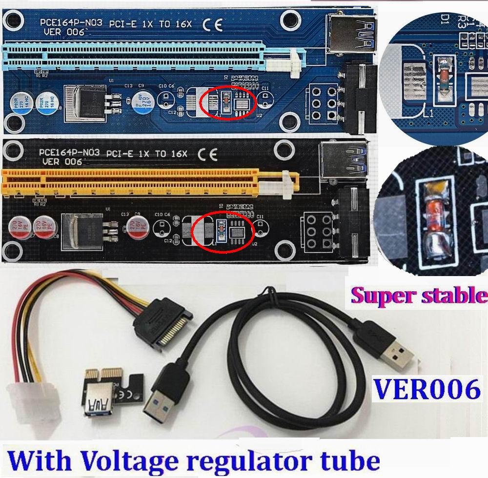 Prix pour Régulateur Tube PCI-E PCI E Express 1x à 16x graphique carte Riser Extender Adaptateur VER006 Pour Bitcoin BTC Mineur Machine 25 ensemble/lot