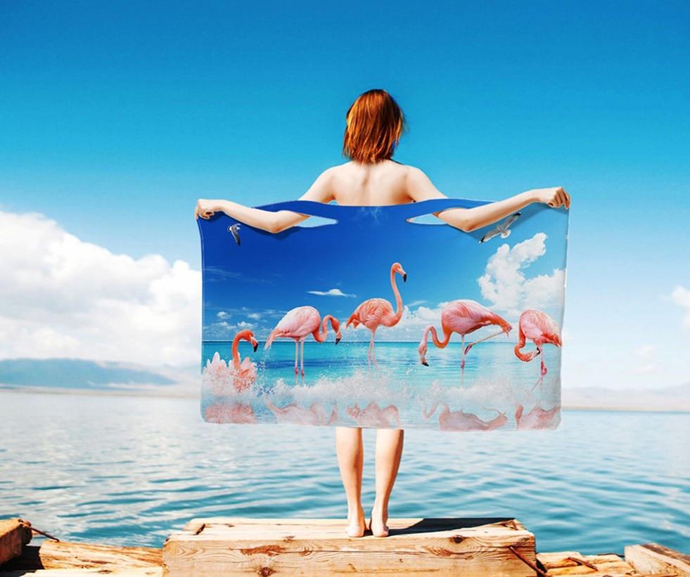 Flamingo Photo Print Personality Diy Bath Towel 3d Towel