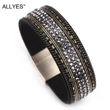 ALLYES Black Leather Bracelets For Women Trendy Alloy Magnet Clasp Rhinestone Crystal Bohemian Wide Cuff Bracelet Femme Jewelry(China)