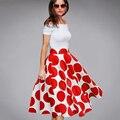 Verão elegante patchwork pontos vermelhos cortar o pescoço das mulheres do vintage chique lindo vestido de baile fora do ombro ocasional do vintage dress a015