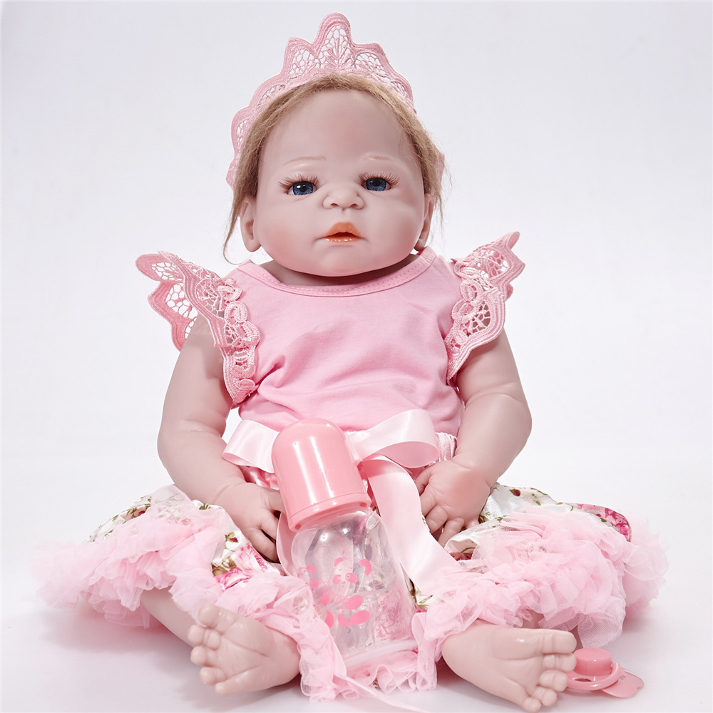 22 inches Soft Silicone Reborn Doll Lifelike Newborn Baby Girl Doll with Cloth Body Toy for Kids Birthday Xmas Gift Bebe rare w i t c h 6 inches doll with pvc bag collection girl gift