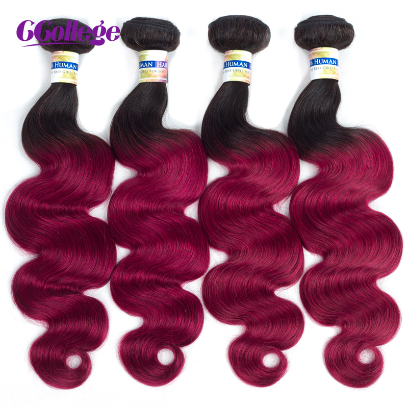 CCollege Body Wave Ombre Human Hair Bundles Black T1B/BUG# Remy Brazilian Hair Weave Bundles Can Buy 1PC 3 4 Pieces Double Weft