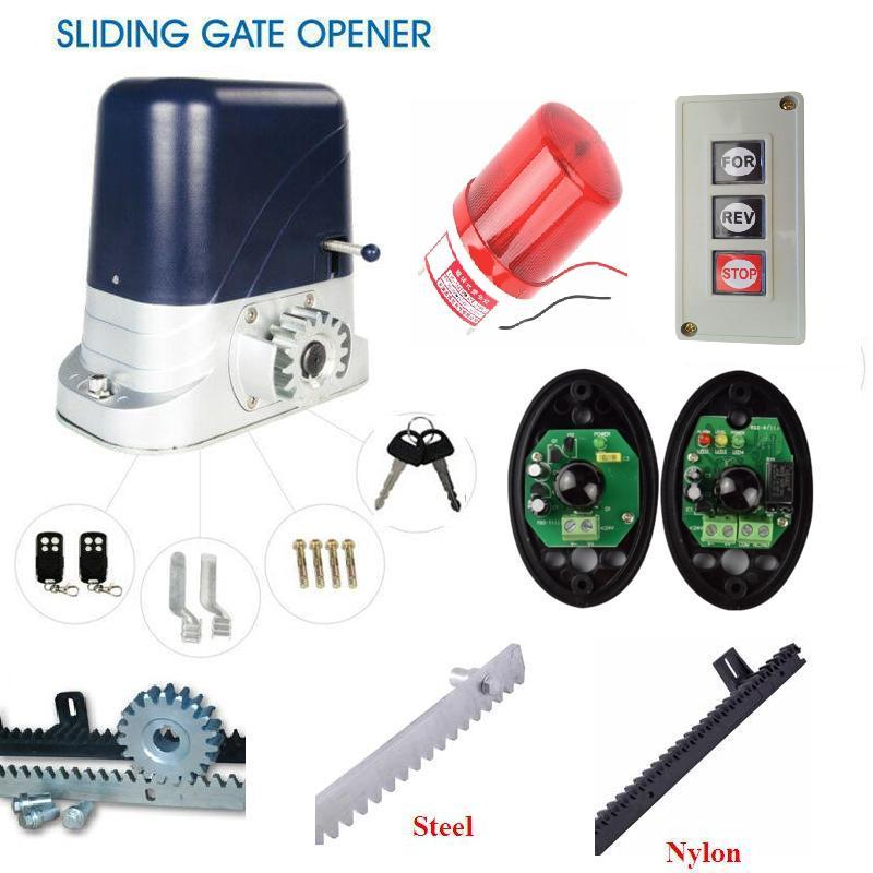 1200kgs Electric Steel Sliding Gate Motors 2 remote control gate opener with 5m 15ft racks flashing lamp push button photocell sliding gate operator user manual py600ac with inside control board remote control sensor and 4m steel rack capecity 600kg gate