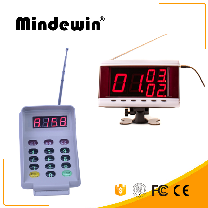 MIndewin 2017 Restaurant Wireless Calling System Smart New Keyboard And Waterproof Multi-function LED  Electronic Number Display wireless pager system 433 92mhz wireless restaurant table buzzer with monitor and watch receiver 3 display 42 call button