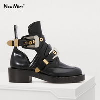 Luxury Brand Designer Silver Gold Buckle Strap Women Boots Double Buckle Ankle Boots for Women Street Style Cut out Punk Shoes