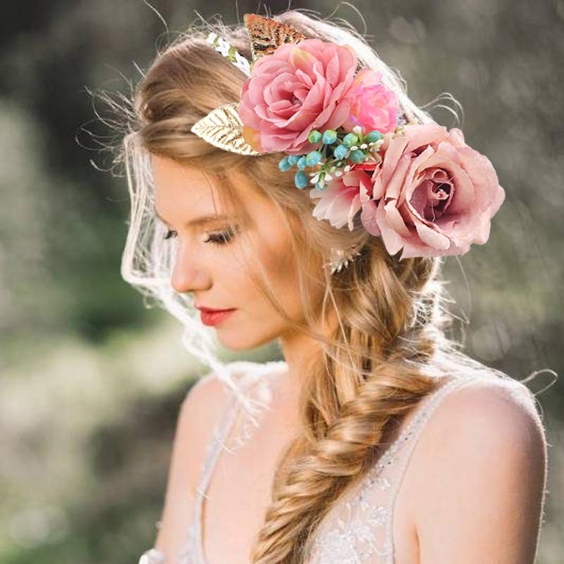 Floral Rose Flower Headband Flower Crown For Bridesmaid Garland Floral Crown Handmade Bride Flower Crown Rose Headband
