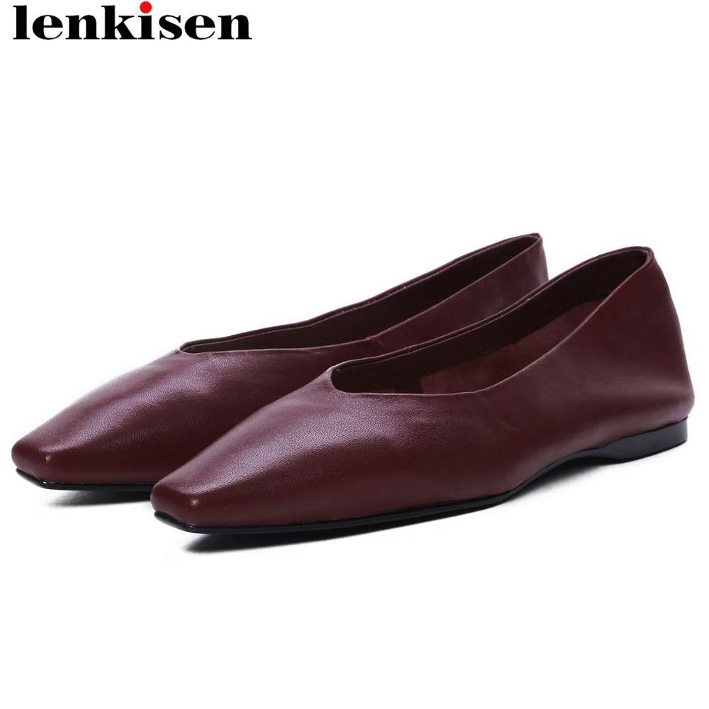 Lenkisen new arrival handmade luxury sheep leather slip on loafers movie stars ballet shoes square toe