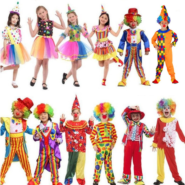 Children Clown Costume Amusement Park Circus Clown Performance Cosplay Costumes Kids Boy Girl Carnival Party  Purim Halloween