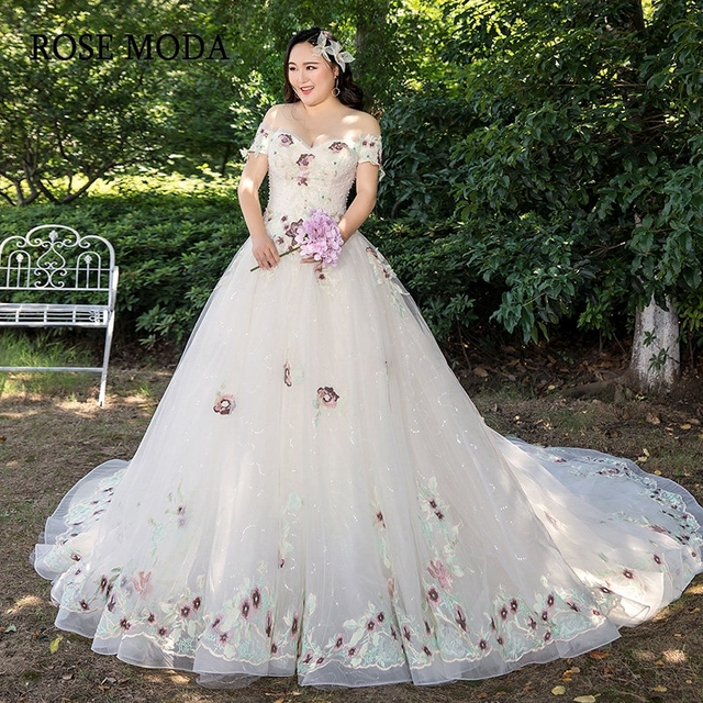 8a9163a1411 Rose Moda Lace Plus Size Wedding Dress 2019 Off Shoulder Short Sleeves Plus  Size Wedding Gowns
