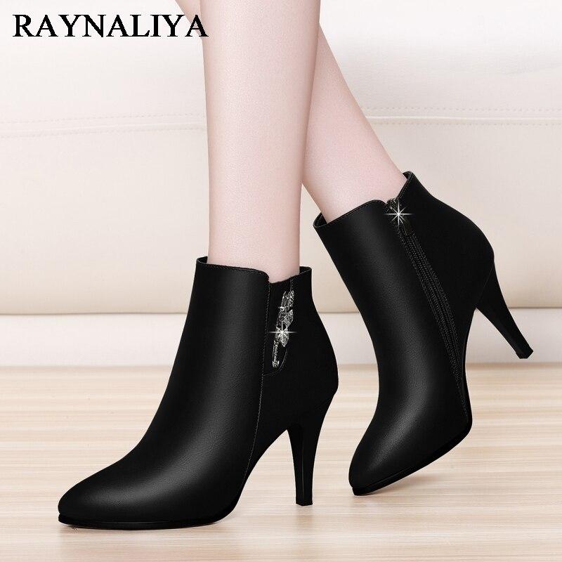 Spring Autumn Big Size 35-40 Women Ankle Boots Female Elegant Fashion Boot Genuine Leather Boots Warm Plush Women Shoes YG-A0025 цена