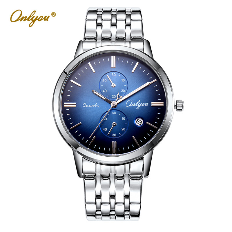 Mens Watches Top Brand Luxury Wristwatches Waterproof Silver Quartz Watch Business Stainless Steel Male Clock Reloj Hombre 81103 chenxi brand luxury men watches automatic date stainless steel quartz watch business calendar male wristwatches reloj hombre