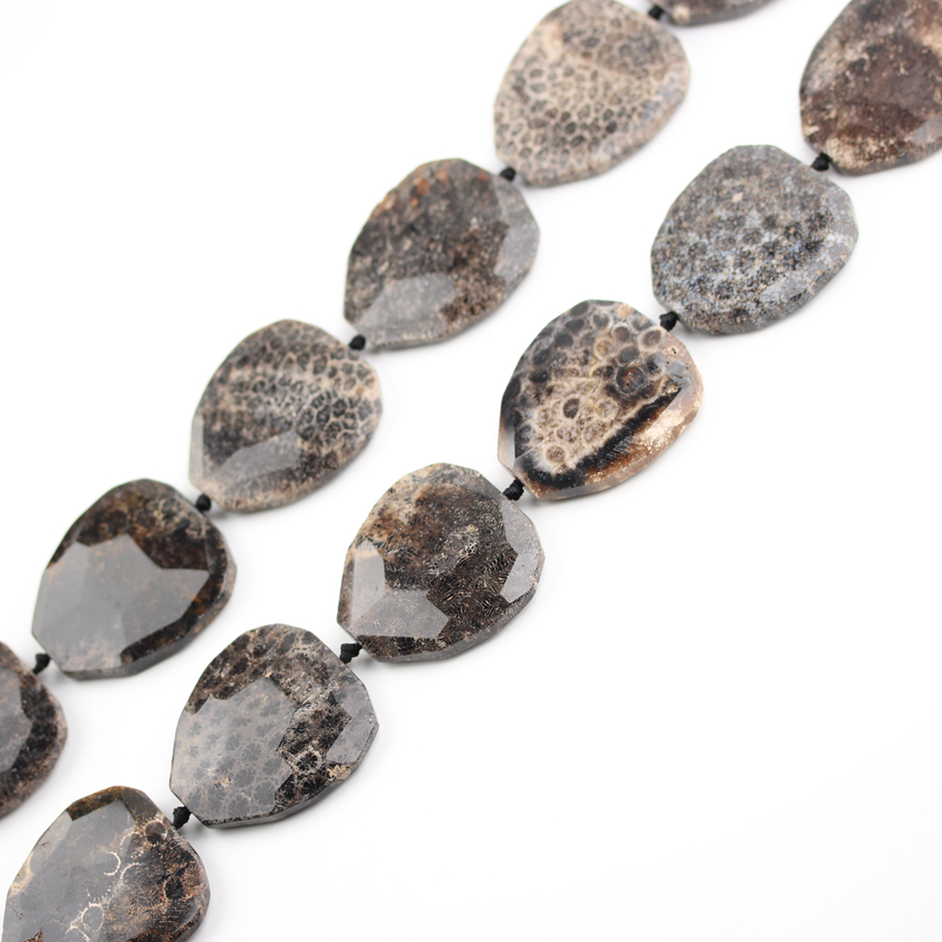 US $22 09 15% OFF|8pcs/Strand Big Black Coral Jades Cut Slice Beads Charms  Making Necklace,Natural Fossils Agates Drilled Stone Faceted Slab Beads-in