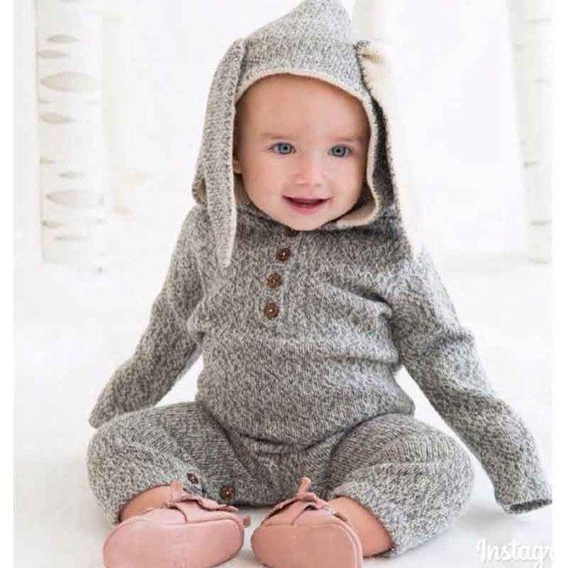 Roupas Com Orelhas bonito Dos Desenhos Animados Do Bebê de Algodão Macacão de Recém-nascidos de Malha Macacão Infantil Macacão Toodler Menina Menino Roupas de Inverno Romper