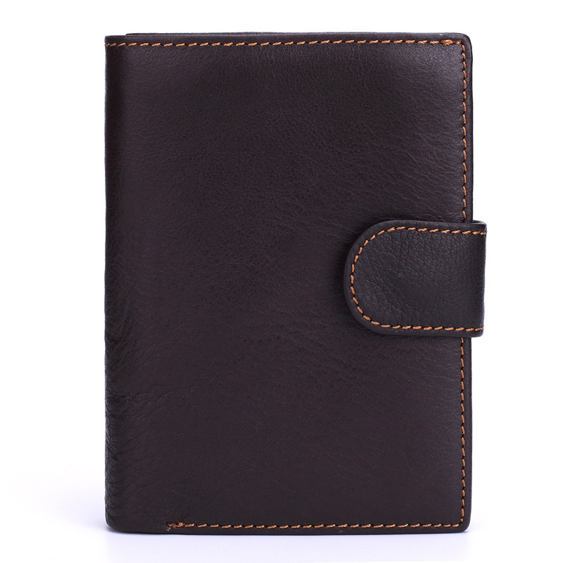 Leather Cowhide Wallet Men Passport cover Purse Card Hasp Holder purse for men Credit ID card coins wallet for men business middle clerk working id card holder exhibition identification card cover tag aluminium alloy metal staff badge for colleagues