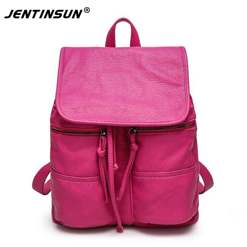 The new washing bags big European and American high-end double shoulder bags personality leather female backpack женская рубашка european and american big 1715