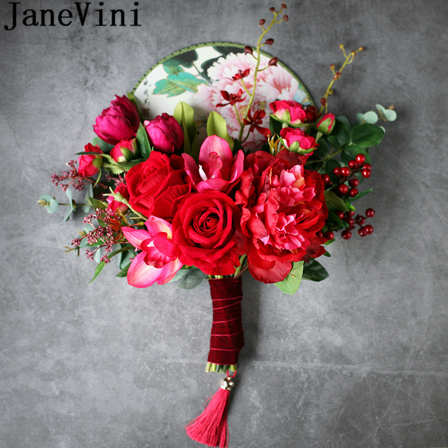 JaneVini Chinese Red Bridal Handle Fan Artificial Roses Flowers Vintage Tassel Wedding Bouquets Bride Hand Fan