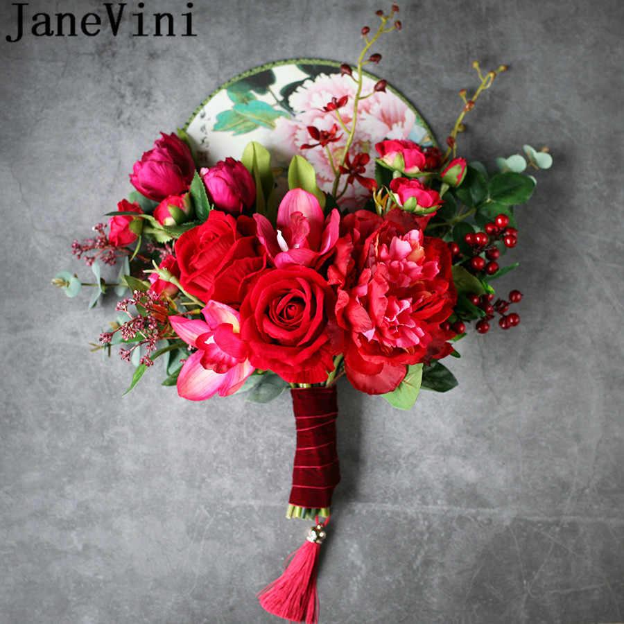 JaneVini 中国赤ブライダルハンドルファン人工バラの花ヴィンテージ房の結婚式のブーケ花嫁の手のファン花束デフルール