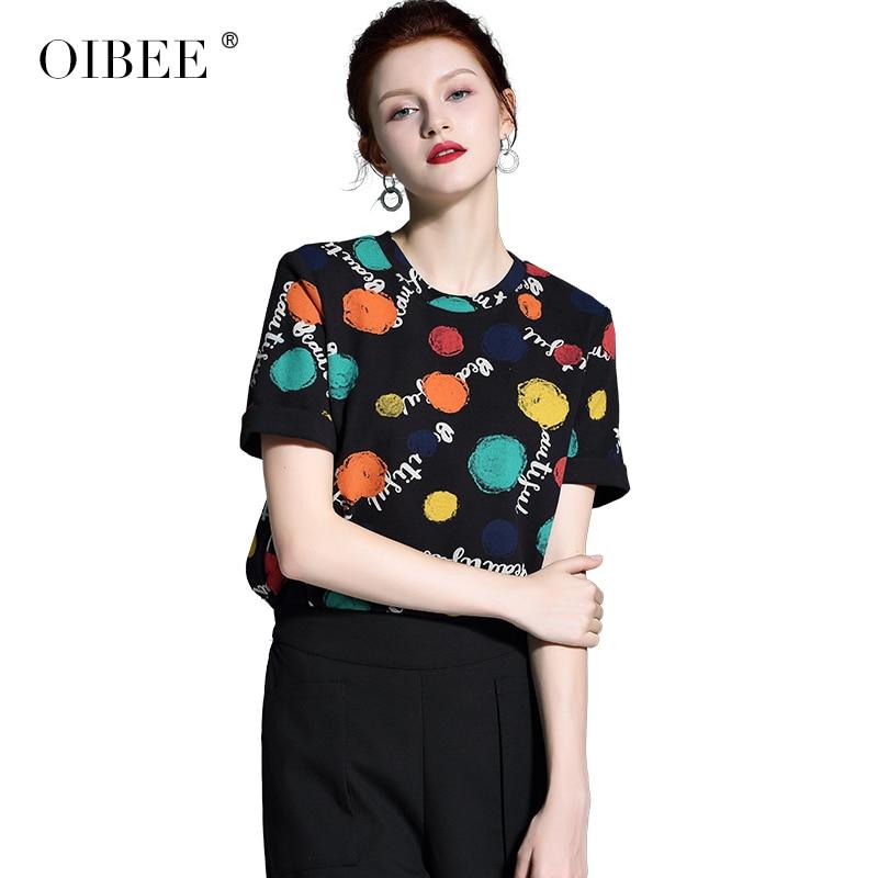 OIBEE2019 primavera mujer nueva moda impresión Rosa Camiseta de manga corta Camisa bufanda camisa de dos piezas - 5