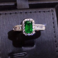 Fine Jewelry Real Pure 18K White Gold 100% Natural Emerald Gemstone 0.9ct Diamond Female's Wedding Rings for Women's Fine Rings