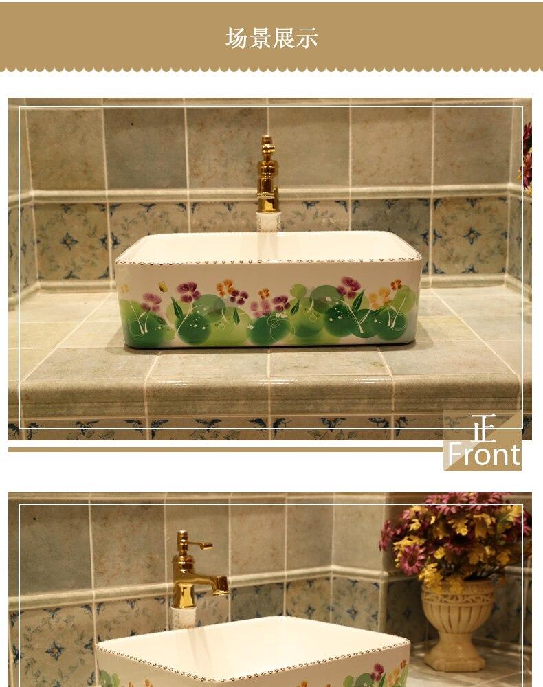 Rectangular Jingdezhen ceramic sanitary ware art counter basin wash basin lavabo sink Bathroom sinks chinese ceramic art sinks (1)