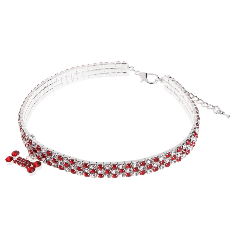 New On Sale Pet Collar Rhinestone Necklace Pendant Dog Puppy Cat Custom Elastic Identified