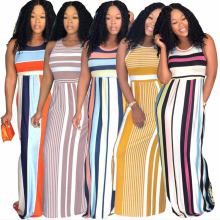 Summer European and American fashion style round neck sleeveless pocket stripe and long skirt female dress free shipping hidden pocket longline stripe dress