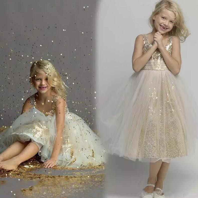 New Champagne Sequined Flower Girl Dresses Princess Little Kid Pageant Party Pageant Dresses Custom Made