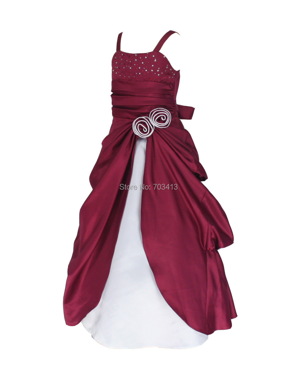 Bur6008 Free Shipping Burgundy White Satin Occasion Party Flower