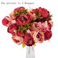 ดอกไม้ประดิษฐ์คอนติเนนcore 3ช่อ24หัวประดิษฐ์P Eonyผ้าไหมดอกไม้ใบแรกงานแต่งงานตกแต่