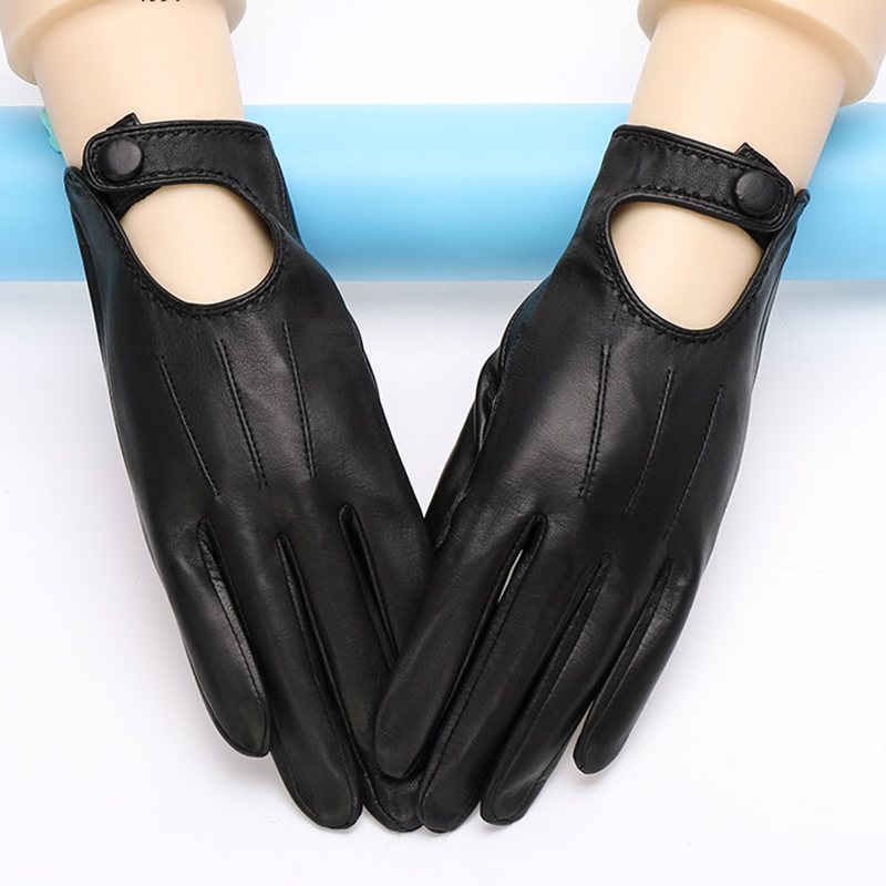 Genuine Leather Gloves Female Spring Autumn Thin Style Unlined Fashion Elegant Woman's Sheepskin Gloves Black White TU1002