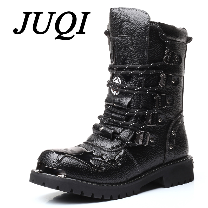 Winter Genuine Leather Fashion Men Winter Motorcycle Boots Black Lace-up High Top Male Ankle Boots Pointed Toe Solid Boots