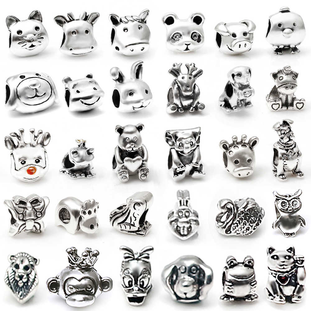 DINGLLY 2Pcs/Lot Silver Cartoon Tigger Animal Shape Beads Fit Pandora Charm Bracelet & Bangle DIY Beaded Jewelry Gifts Making