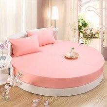 SunnyRain 3-Piece Solid Color 100% Cotton Round Fitted Sheet Set Round Bed Sheet Bedding Set Round Mattress Topper 200cm 220cm