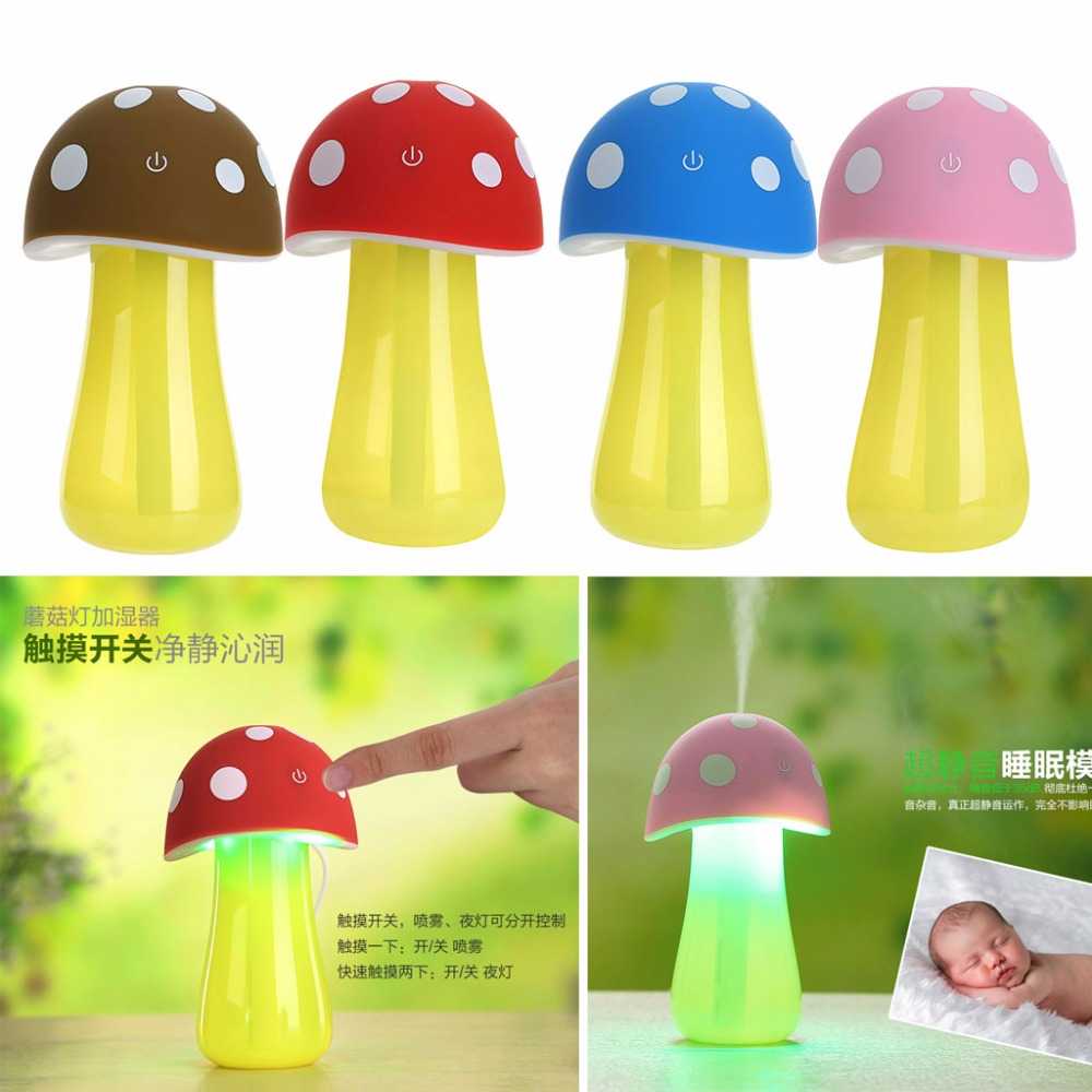LED Mushroom USB Mini Humidifier Home Air Diffuser Purifier Atomizer Mist Maker 5v led lighting usb mini air humidifier 250ml bottle included air diffuser purifier atomizer for desktop car