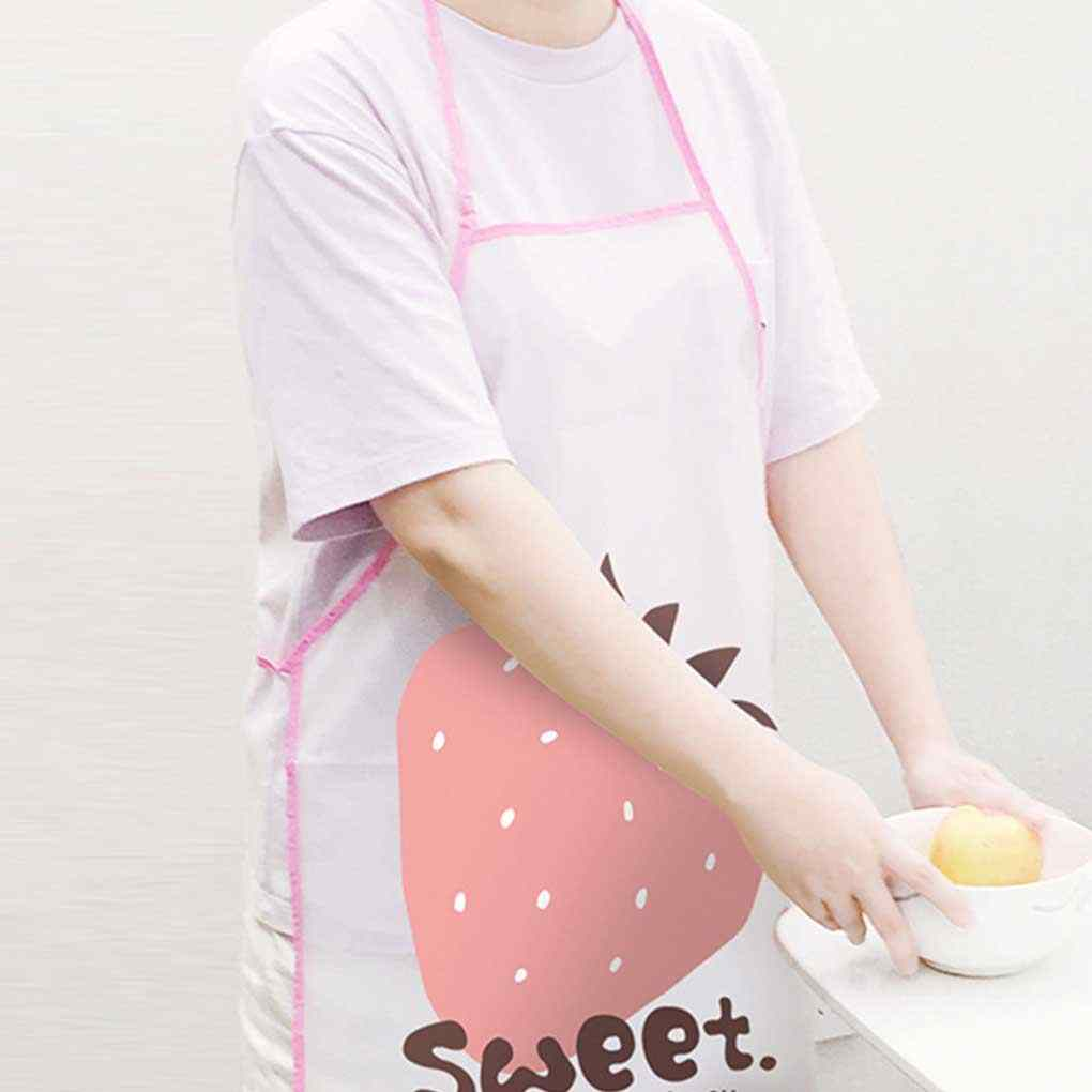 Random Color Adjustable Printing Adult Kitchen Apron Restaurant Cooking Anti-fouling Oil Waterproof PVC