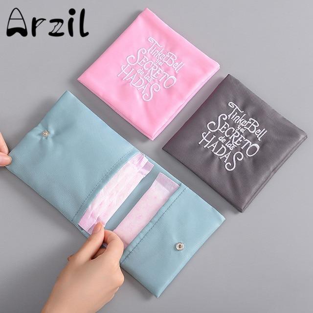 Menstrual Napkin Bag Portable Sanitary Pad Storage Feminine Hygiene Tampon Pouch Organizer 4 Colors Reusable