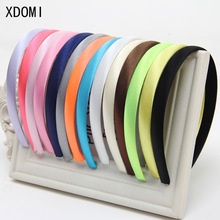 Girls 1.5cm Head Hoop Hair Clasp For Women Colored Satin Covered Resin Hairbands Ribbon Covered HeadBand Hair Accessory 5pcs/lot