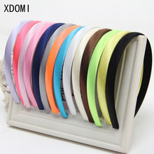 Girls 1.5cm Head Hoop Hair Clasp For Women Colored Satin Covered Resin Hairbands Ribbon Covered HeadBand Hair Accessory 5pcs/lot(China)
