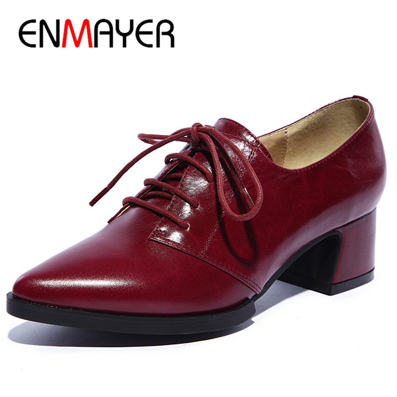 ENMAYER Pointed Toe Low Heels Pumps Shoes Woman Dress Shoes Black Wine red Pink Size 34-39 Genuine Leather Shoes Cross-tied цена 2017