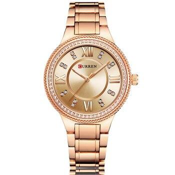 CURREN Women Watches Luxury Brand Fashion Quartz Ladies Stainless Steel Bracelet Watch Women Clock Reloj Mujer Relogio Masculino дамски часовници розово злато