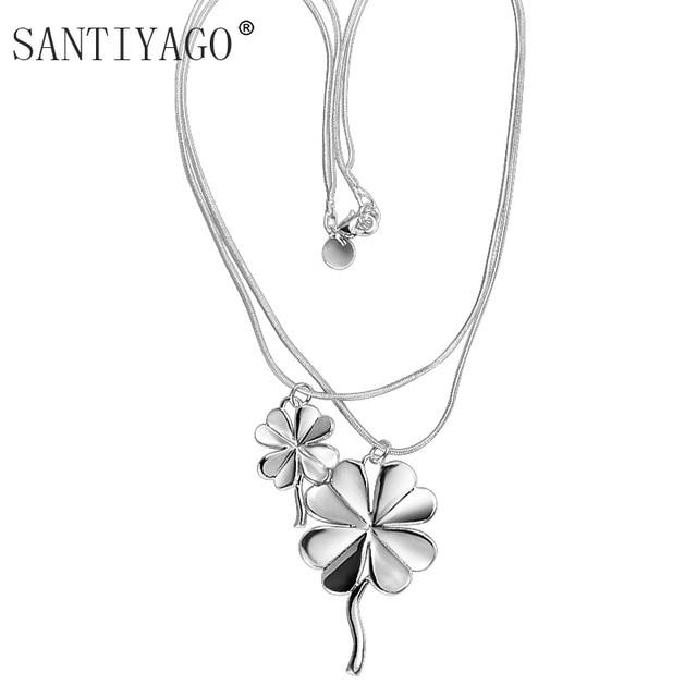 2b0ba2ddc Chain Choker 2018 Luck Four Leaf Clover Plower Statement Necklace For Women  Boho Jewelry Fashion Choker