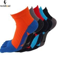 Verival chaussettes à bout en coton pour homme, 5 paires/lot, maille, bonne qualité, à Compression, courtes, à cinq doigts